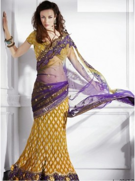 Mahotsav musterd Color Lehenga Saree