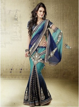 Mahotsav Blue firzi shaded Color Lehenga Saree