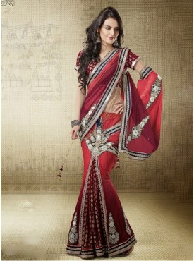 Mahotsav red Color Lehenga Saree