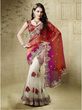 Mahotsav Red cream Color Lehenga Saree