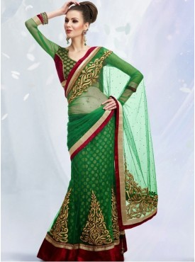 Mahotsav green Color Lehenga Saree