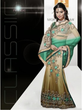 Mahotsav rama Color Lehenga Saree