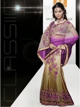 Mahotsav wine Color Lehenga Saree