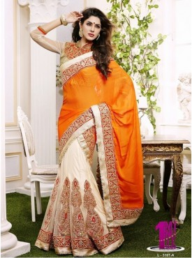 Mahotsav Orange light Beige Color Lehenga Saree