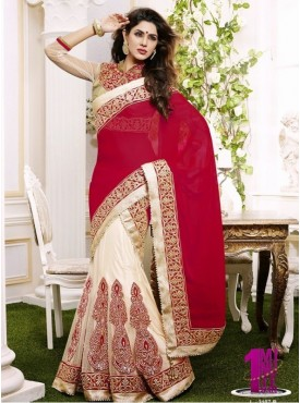 Mahotsav red light Beige Color Lehenga Saree