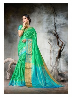 Namashvi Designer Heavy Cotton Silk Green Color Jacquard Saree With Blouse