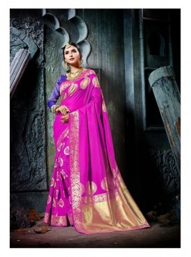 Namashvi Designer Heavy Cotton Silk Pink Color Jacquard Saree With Blouse