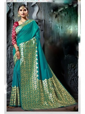 Namashvi Designer Heavy Cotton Silk Turquoise Green Color Jacquard Saree With Blouse