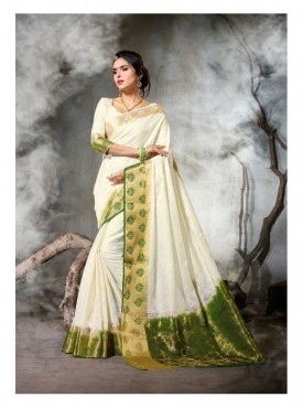 Nayonika Designer Heavy Silk White & Green Color Jacquard Saree With Blouse