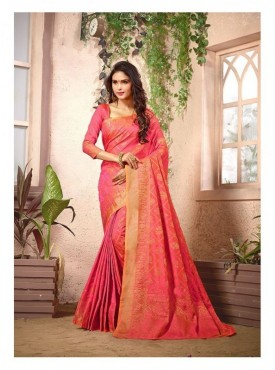 Nirangini Designer Heavy Cotton Silk Peach Color Jacquard Saree With Blouse