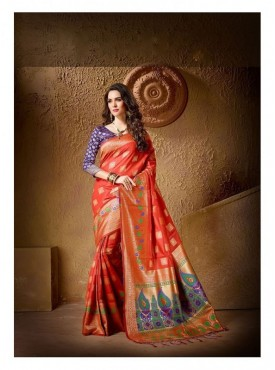 Yogeeni Designer Heavy Cotton Silk Red Color Jacquard Saree With Blouse