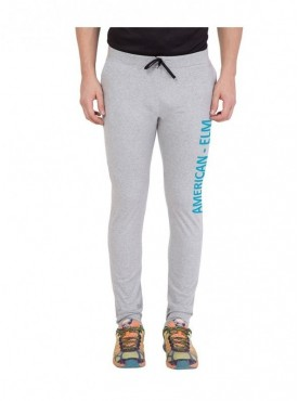 American-Elm Men Grey Cotton Printed Trackpant