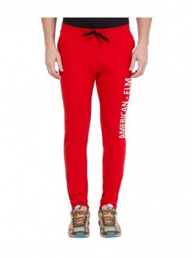 American-Elm Red Printed Track Jogger for Men
