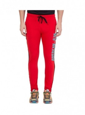 American-Elm Men Red Cotton Printed Trackpant