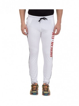 American-Elm Men White Cotton Red Printed Trackpant