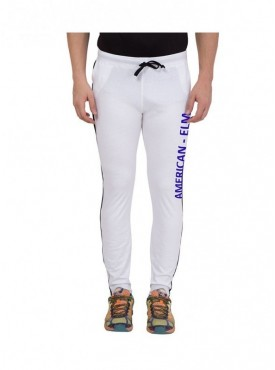 American-Elm Men White Printed cotton Trackpant