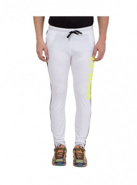 American-Elm Men White Cotton Printed Trackpant