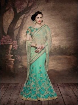 Mahotsav Beige and Aqua Green Color Saree