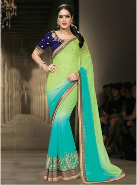 Mahotsav Opt for this peppy green blue shaded saree and amuse everyone around with your choice.