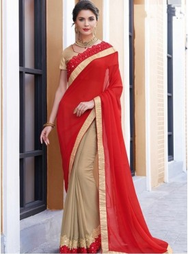 Mahotsav Skirt Chiku Pallu Red Color Saree