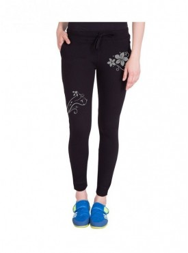 American-Elm Women Black Stylish Floral Print Trackpant