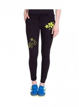 American-Elm Women Black Floral Print Trackpant
