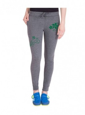 American-Elm Women Stone Grey Stylish Floral Print Trackpant