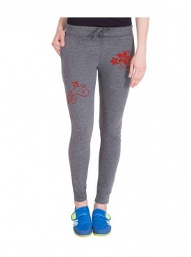 American-Elm Both Front Side Red Flower Printed Track Jogger for Women