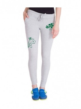 American-Elm Women Grey Stylish Floral Print Trackpant