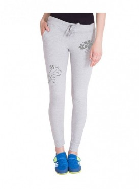 American-Elm Both Front Side Grey Flower Printed Trackpant for Women