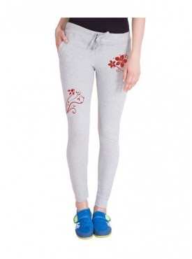 American-Elm Grey Stylish Both Front Side Flower Printed Trackpant for Women