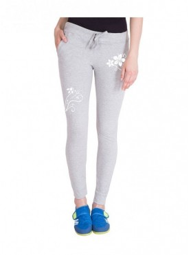 American-Elm Women Grey Floral Print Trackpant