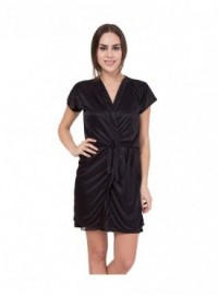 American-Elm Women Black Knee Length Night Robe