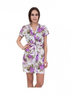 American-Elm White Floral Print Night Gown for Women