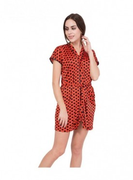 American-Elm Red Above Knee Length Gown for Women