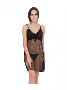 American-Elm Women Black Sleeveless Net Nighty