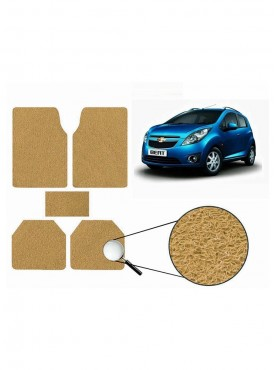 True Vision Car Anti Slip Noodle Floor / Foot Mats Set of 5 Beige For Chevrolet Beat Type 1  - 2009-2014