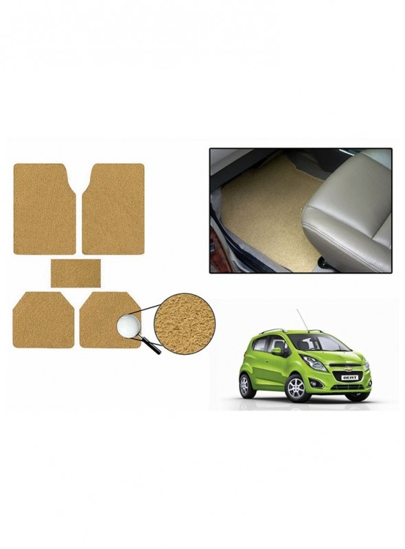 True Vision Car Anti Slip Noodle Floor / Foot Mats Set of 5 Beige For Chevrolet Beat Type 2  - 2014-2015
