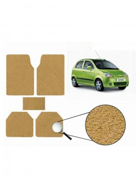 True Vision Car Anti Slip Noodle Floor / Foot Mats Set of 5 Beige For Chevrolet Spark Type 1  - 2008-2013