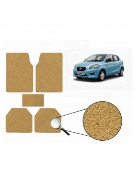 True Vision Car Anti Slip Noodle Floor / Foot Mats Set of 5 Beige For Datsun Go