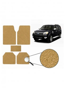 True Vision Car Anti Slip Noodle Floor / Foot Mats Set of 5 Beige For Ford Endeavour Type 1  - 2004-2007