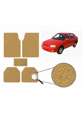 True Vision Car Anti Slip Noodle Floor / Foot Mats Set of 5 Beige For Hyundai Accent Viva