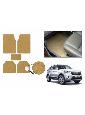 True Vision Car Anti Slip Noodle Floor / Foot Mats Set of 5 Beige For Hyundai Creta