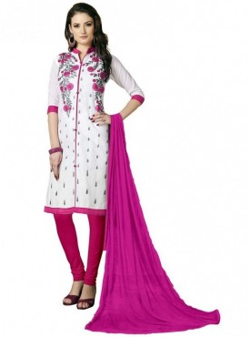 Aasvaa White Color Heavy Multi Embrodiery With Fancy Border Cotton Salwar Suit Nazneen DUPATTA