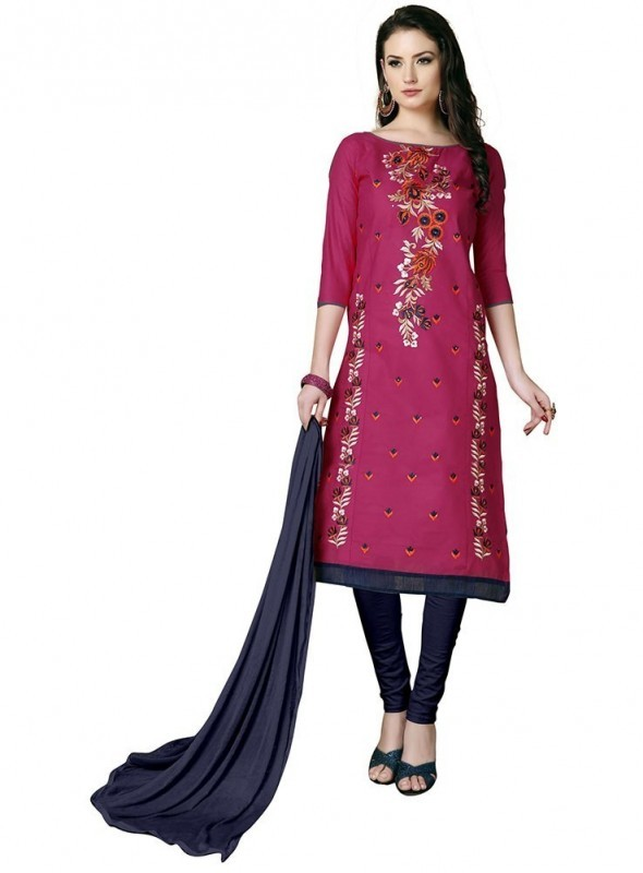 Aasvaa Pink Color Heavy Multi Embrodiery With Fancy Border Cotton Salwar Suit Nazneen DUPATTA