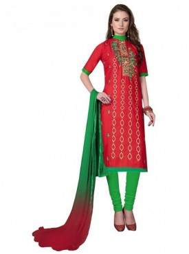 Aasvaa Red Color Heavy Multi Embrodiery With Fancy Border Cotton Salwar Suit Nazneen DUPATTA