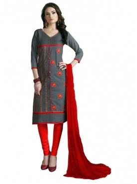 Aasvaa Grey Color Heavy Multi Embrodiery With Fancy Border Cotton Salwar Suit Nazneen DUPATTA