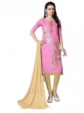 Aasvaa Baby Pink Color Heavy Multi Embrodiery With Fancy Border Cotton Salwar Suit Nazneen DUPATTA