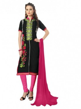 Aasvaa Black Color Heavy Multi Embrodiery With Fancy Border Cotton Salwar Suit Nazneen DUPATTA