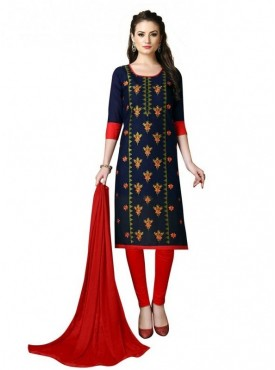 Aasvaa Blue Color Heavy Multi Embrodiery With Fancy Border Cotton Salwar Suit Nazneen DUPATTA